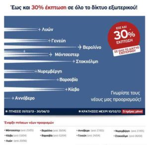 AEGEAN airlines: Έκπτωση έως 30% σε όλους τους προορισμούς εξωτερικού!